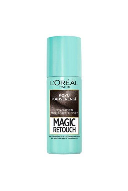 L'Oreal Paris Beyaz Saçlar için Kapatıcı Koyu Kahverengi Saç Spreyi - Magic Retouch 02 Brun 75 ml 3600523193349