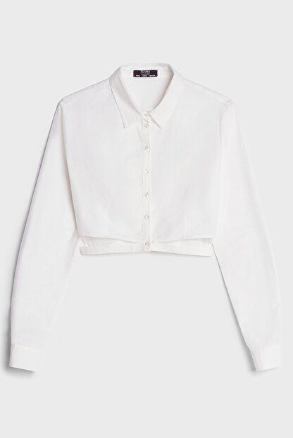 Bershka Kadın Beyaz Yırtmaçlı Poplin Gömlek