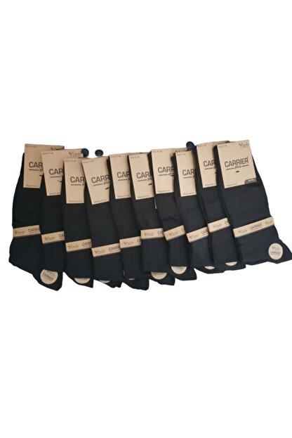 Carrier Plus Extra Yumuşak Siyah Erkek Bambu Soket / 12 Çift / 200 Iğne / Dikişsiz Burun Terletmez