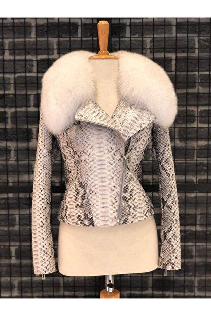 Oscar Leather Kadın Kırık Beyaz Hakiki Kürk Yakalı Piton Deri Ceket