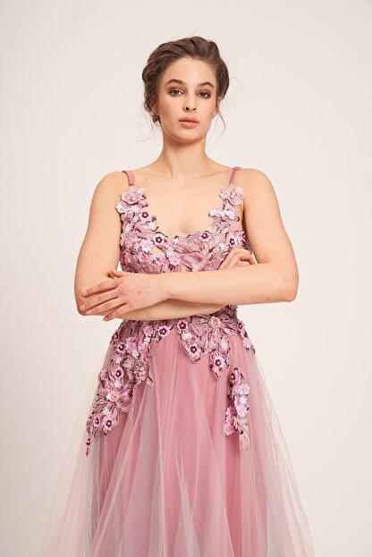 La Vita e Bella Pudra Tül Etek Çiçek Motifli Uzun Abiye Elbise