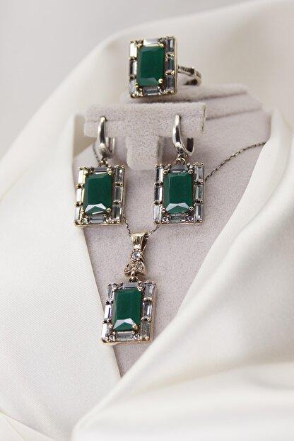 Faber Silver Zümrüt Taşlı Takı Seti Yüzük Kolye Küpe 925 Ayar Gümüş