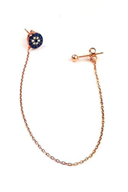 OSESHOP Nazar Boncuğu Detaylı Gümüş Üzerine Rose Altın Kaplamalı Zincir Küpe
