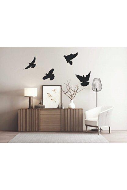 GİZEM SHOP Siyah Dekoratif Ahşap Dörtlü Kuş Duvar Süsü Dekoru