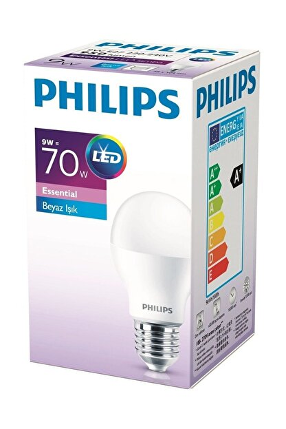 Philips Essential Led Ampul 8.5w 60w E27 Normal Duylu Beyaz Işık Led Ampul