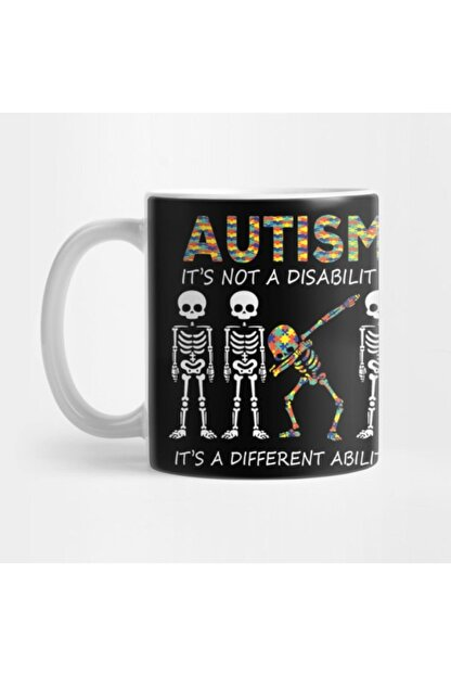 TatFast Autism Its A Different Ability Funny Dabbing Skeleton Gift Premium Kupa