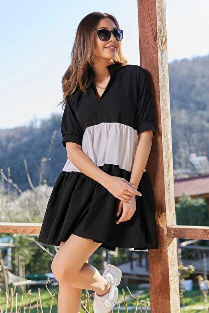 Sateen Kadın Siyah Volanlı Salaş Mini Elbise