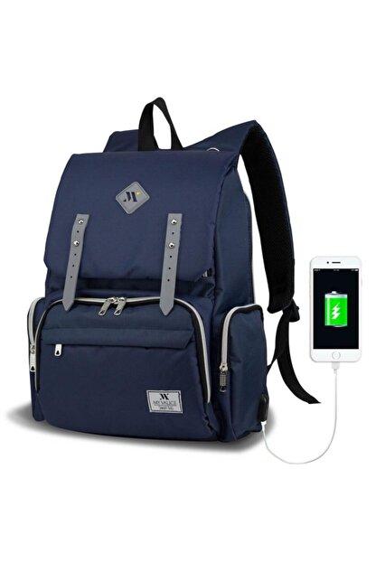 My Valice Unisex Lacivert Smart Bag Mother Star USB'li Anne Bebek Bakım Çantası