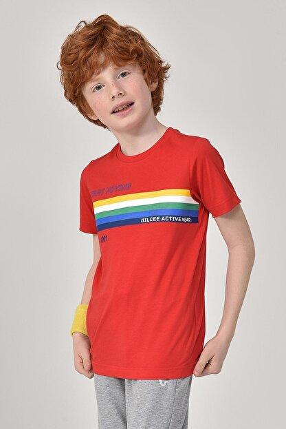 bilcee Unisex Çocuk Kırmızı T-Shirt GS-8145