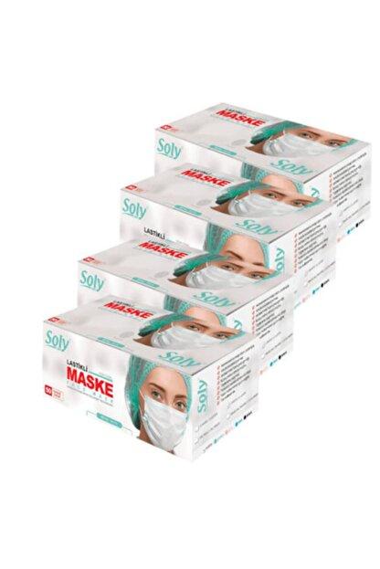 Soly Beyaz Care Cerrahi Maske  Üç Katlı Lastikli Burun Telli 50'li 4 Kutu