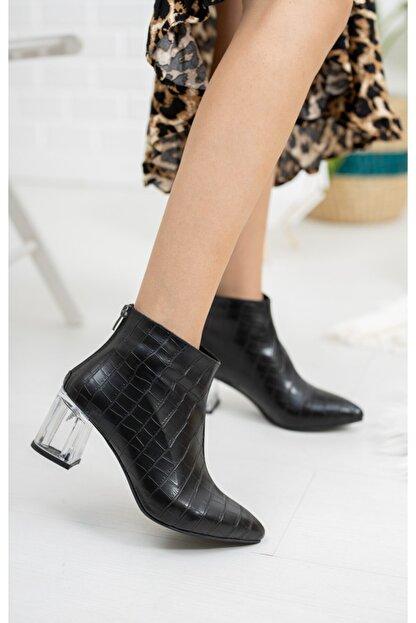 Moda Değirmeni Siyah Kroko Cilt Kadın Şeffaf Topuk Bot Md1050-116-0001