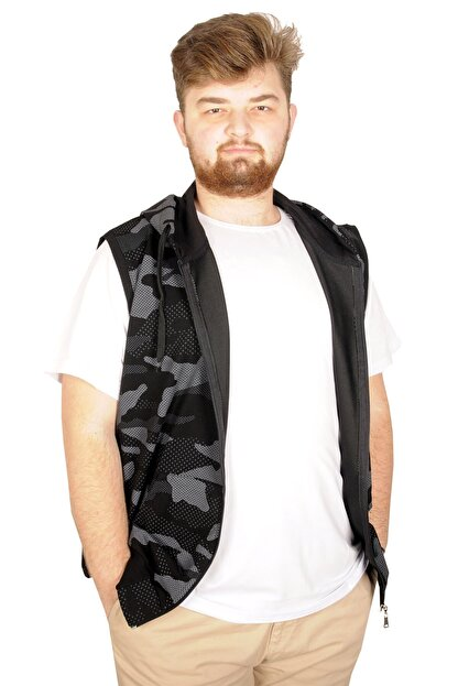 Modexl Battal Beden Erkek Camouflage Yelek 21250 Siyah