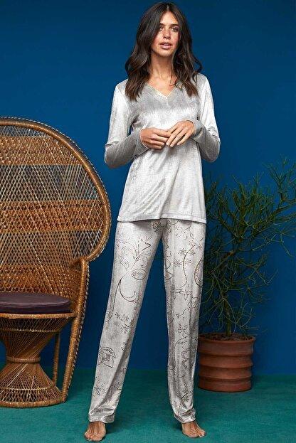 Penye Mood Penye Mood Kadın T-shirt Pantolon Pijama Takım 8633 Gri