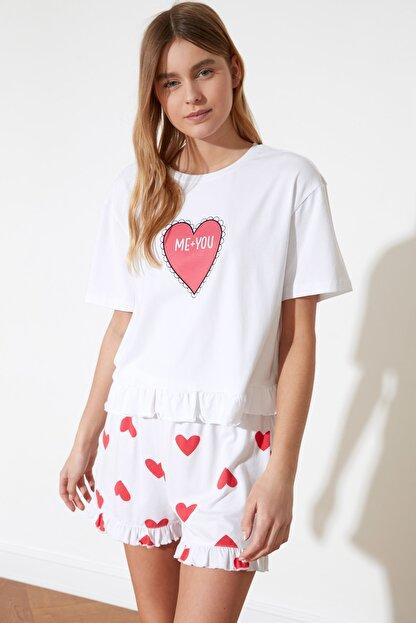 TRENDYOLMİLLA Kalp Baskılı Örme Pijama Takımı THMSS21PT0467