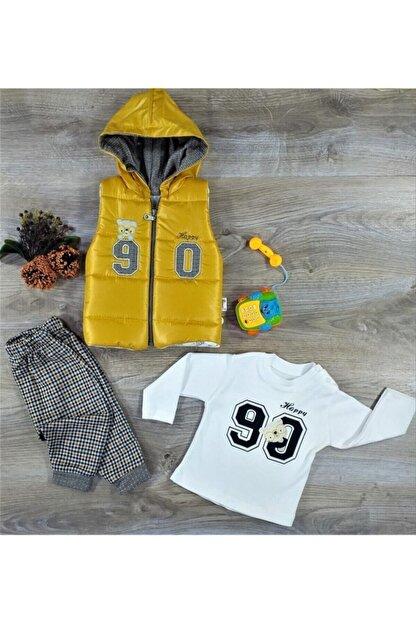 Hippıl Baby Erkek Bebek Çocuk Alt Üst Yelek 3 Parça Takım 6-12-18 Ay