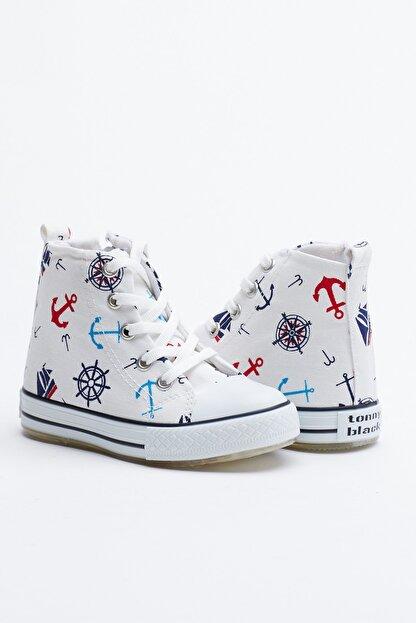 Tonny Black Beyaz Lacivert Çocuk Spor Ayakkabı Uzun Tb999