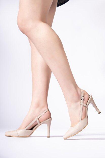 CZ London Hakiki Deri Kadın Kemerli Stiletto Arkası Açık Topuklu Ayakkabı