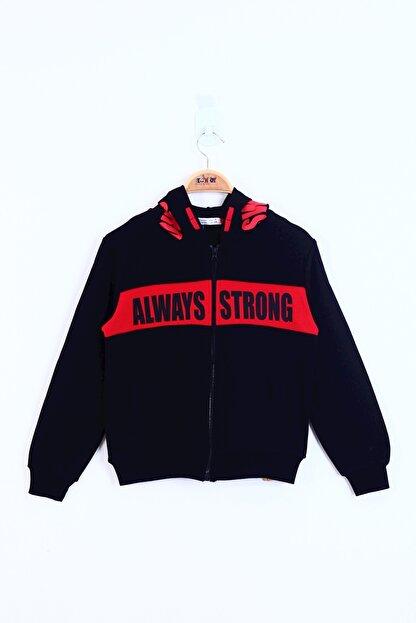 Toontoy Erkek Çocuk Siyah  Always Strong Baskılı Hırka