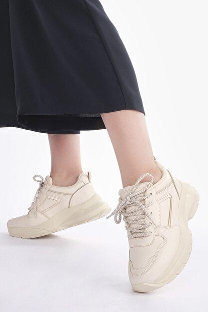Marjin Kadın Bej Sneaker Dolgu Topuk Spor Ayakkabı Besri