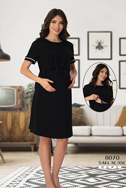 Effort Pijama Lohusahamile Emzirme Özellikli Siyah Hamile Elbise 8070