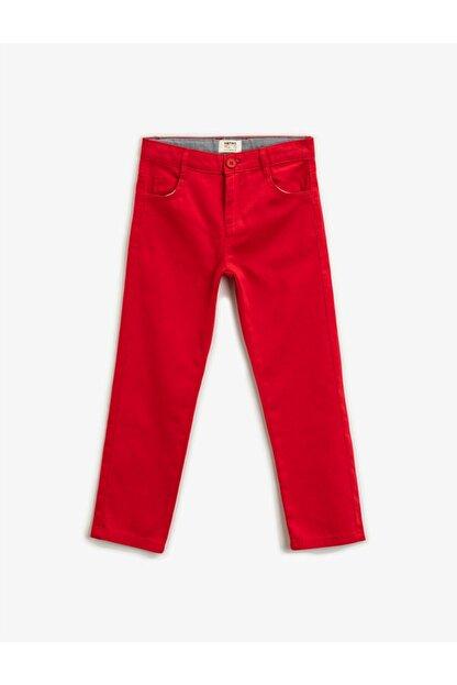 Koton Erkek Çocuk Kırmızı Pamuklu Chino Pantolon