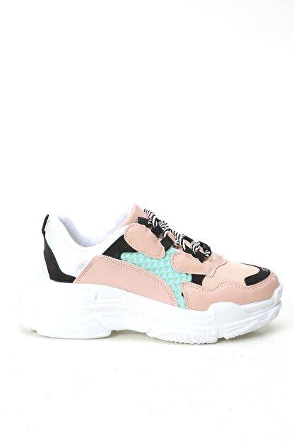Ayakkabı Modası Kadın Pembe Yeşil Sneaker Ayakkabı