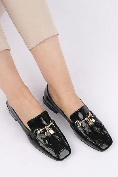 Marjin Kadın Siyah Rugan Loafer Ayakkabı Desar