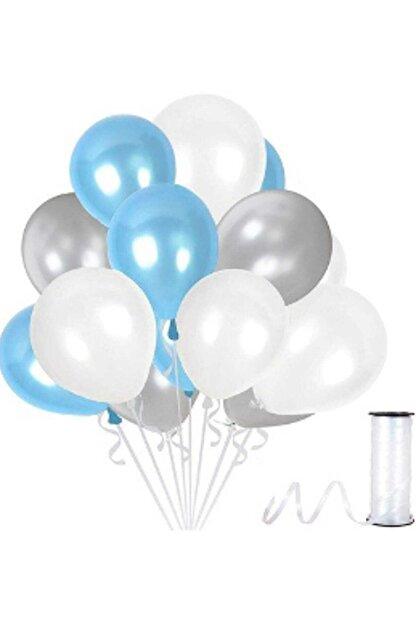 partisüs Gümüş - Beyaz- Mavi Metalik Balon 50 Adet 3'lü Renk