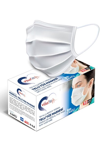 Vheal Med Medikal Maske 3 Katlı Meltblown Filtreli Burun Telli Full Ultrasonik Beyaz 50 Adet
