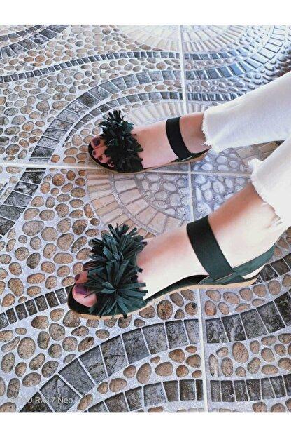 Mısra sandalet Kadın Koyu Yeşil Püsküllü Sandalet