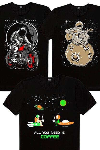 Rock & Roll Erkek Siyah Uzayda Kahve, Gitarcı Astronot, Sanırım Kaybolduk 3'lü Eko Paket T-shirt