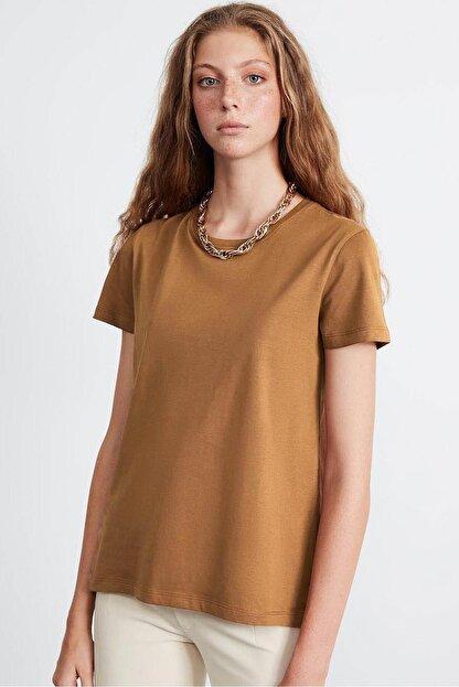GRIMELANGE SAMANTHA  Kadın Kahverengi Comfort Fit Arkası Uzun T-Shirt