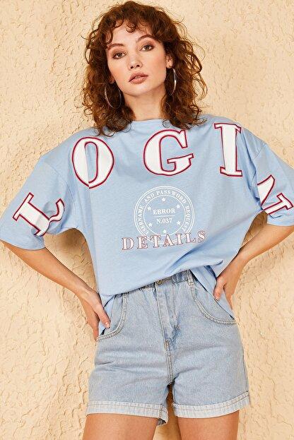 Bianco Lucci Kadın Login Baskılı Oversize Tshirt