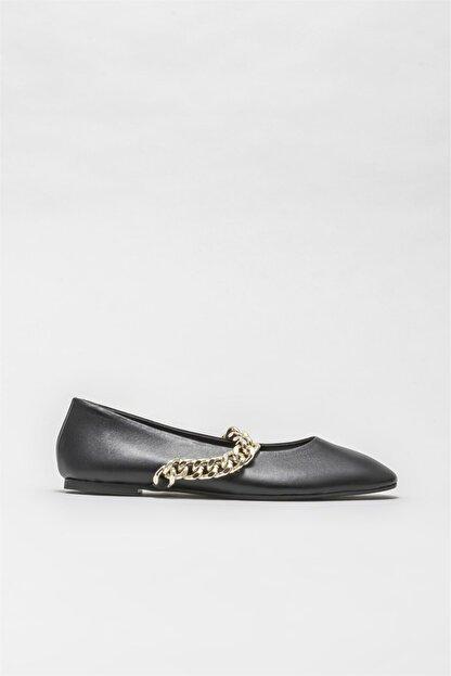 Elle Siyah Deri Kadın Günlük Ayakkabı