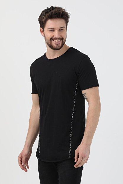 XHAN Siyah Yanı Baskılı T-shirt 1kxe1-44621-02