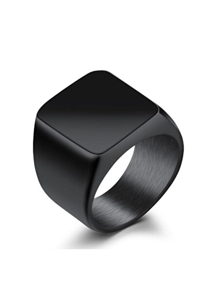 Chavin Parlak Siyah Kadın Erkek Çelik Yüzük dc52