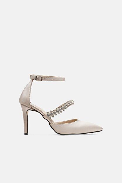 Jorbinol Kadın Krem Renk Bant Detaylı Hera Topuklu Abiye Ayakkabı