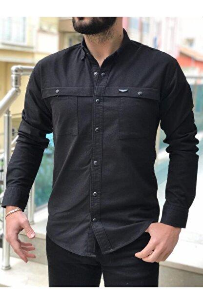 PLUS POSH Siyah Slim Fit Ön Cep Detaylı Kot Ceket Gömlek