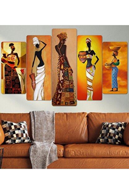 hanhomeart Afrikalı Kadınlar Parçalı Ahşap Duvar Tablo Seti
