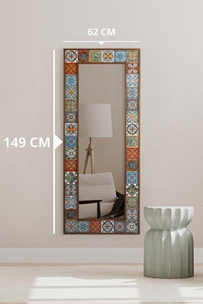 bluecape Doğal Ağaç Çerçeveli  El Yapımı Çini Seramik Kaplı Salon Boy Ayna Çerçevesi 62x149 Cm