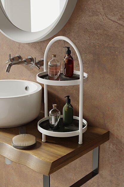 LİLLA HOME Iki Katlı Siyah Mermer Desenli Mutfak Kozmetik Takı Banyo Düzenleyici Organizer 41 Cm