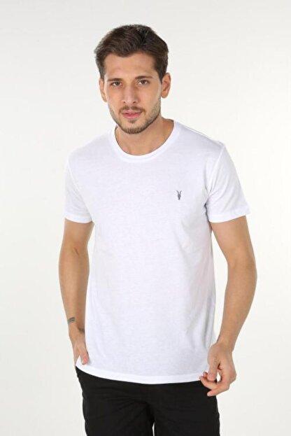 AllSaints Erkek Beyaz Bisiklet Yaka T-shirt