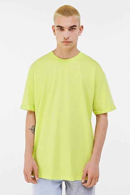 Bershka Erkek Lime Long Fit T-shirt