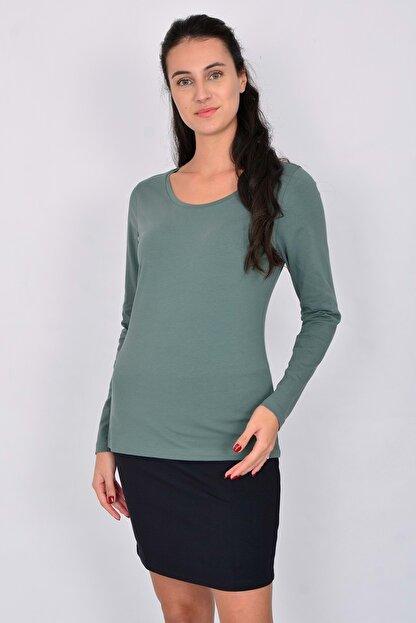 Letoile Pamuk Uzun Kollu Kadın T-shirt Yeşil