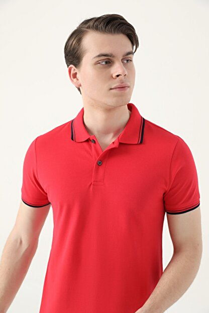 D'S Damat Ds Damat Slim Fit Kırmızı Pike Dokulu T-shirt