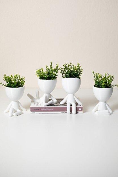 XYZ SAKSI Insansı Saksılar Beyaz 4'lü Set Yapay Çiçekli