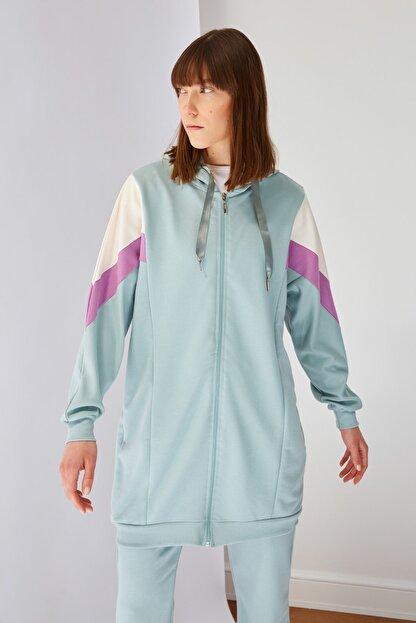 Trendyol Modest Mint Panelli Fermuarlı Örme Sweatshirt TCTSS21SW0340