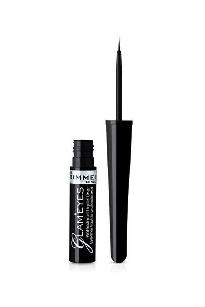 Rimmel London Siyah Eyeliner - Glam'Eyes Professional Liquid Eyeliner Black Glamour 3607344174083