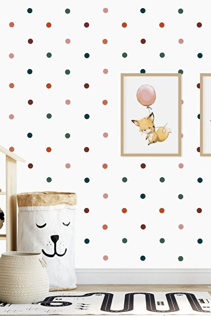 Norm Design 204 Adet Karışık Renkli Yuvarlak Duvar Stickerı