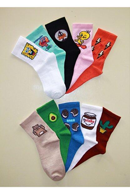 Çoraphane Unisex Karışık Desenli 10 Çift Renkli Kolej Çorabı